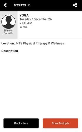 MTS APP - Book Class